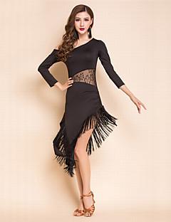 Skal vi latin dance kjole kvinder spandex blonde 3/4 længde ærmer kjole