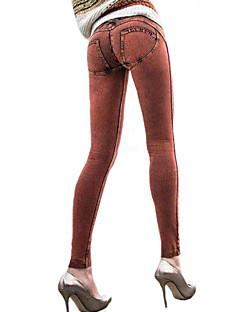 Feminino Cor Única Denim Legging,Denin