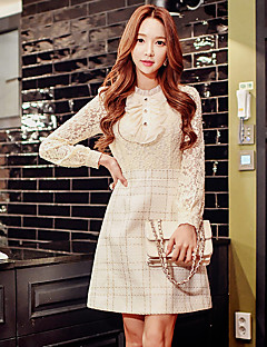 Women's Going out Casual Holiday Vintage chic Sophisticated A Line Sheath Dress Lace Long Sleeve Plaid Print