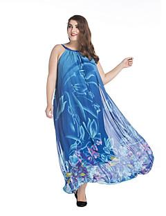 Damen Chiffon Swing Kleid-Übergröße Boho Druck Rundhalsausschnitt Maxi Ärmellos Blau Polyester Frühling Sommer Mittlere Hüfthöhe