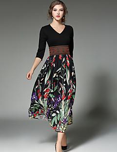 Women's Casual Beach Boho Street chic Fashion Slim Thin Chiffon Dress Print Patchwork V Neck Maxi  Sleeve Black Cotton /Polyester Spring /Summer