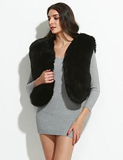 Vrouwen Sexy / Eenvoudig Herfst / Winter Bontjas,Feestje/cocktail / Grote maten / Casual/Dagelijks V-hals-MouwloosRood / Wit / Zwart /