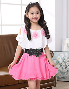 Girl's Solid Dress,Polyester Summer Pink / Red