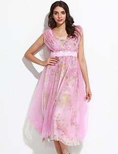 Pochwa Sukienka Obuwie damskie Codzienne Prosta Kwiaty,Ramiączka Midi Bez rękawów Różowy Bawełna Lato