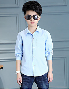 Boy Casual/Daily Solid Shirt,Cotton Rayon Spring Long Sleeve Regular