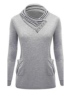 Damen Pullover Lässig/Alltäglich Einfach Solide Rundhalsausschnitt Mikro-elastisch Baumwolle Langarm Herbst