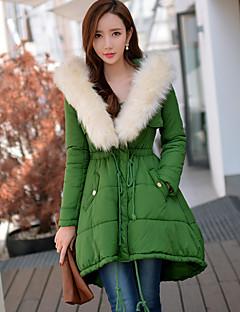 Damen Gefüttert Mantel,Lang Einfach Street Schick Anspruchsvoll Ausgehen Lässig/Alltäglich Urlaub Solide-Polyester NylonPolyester Ohne