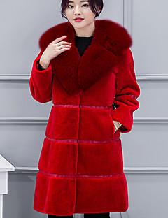 Damen Solide Niedlich Mantel,Winter Langarm Rot Schwarz Grau Mittel Baumwolle