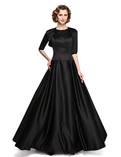 LAN TING BRIDE Trapèze Robe de Mère de Mariée - Deux Pièces Longueur Sol Sans Manches Satin Elastique - Appliques Billes Drapée