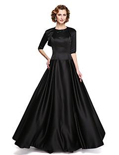 LAN TING BRIDE A-라인 신부 어머니 드레스 - 투피스 바닥 길이 민소매 스트래치 새틴 - 아플리케 비즈 드레이핑
