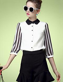 Feminino Camisa Social Casual Simples Primavera Verão,Listrado Branco Poliéster Colarinho de Camisa Manga ¾ Média
