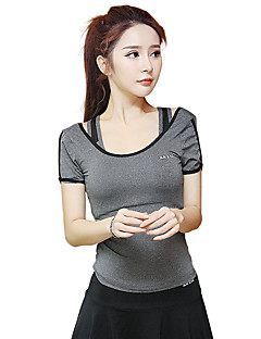 女性用 ランニングTシャツ 半袖 速乾性 高通気性 モイスチャーコントロール トップス のために ヨガ エクササイズ&フィットネス ランニング モーダル ポリエステル スリム ダークグレー ライトブルー フルーツグリーン S M L XL