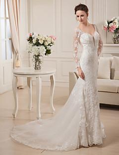 A-라인 웨딩 드레스 아름다운 뒤태 코트 트레인 V-넥 레이스 새틴 튤 와 비즈 레이스