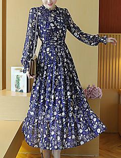 כל העונות אקריליק כחול שרוול ארוך מקסי עד הברך צווארון עגול קצר משובץ חמוד סגנון רחוב סגנון סיני ליציאה יום יומי\קז'ואל חג שמלה ישרה נשים,