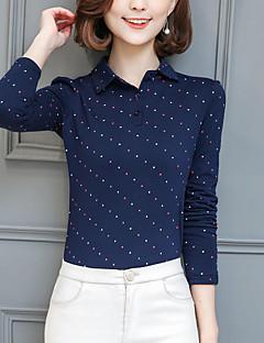 Feminino Camiseta Tamanhos Grandes Moda de Rua Primavera Outono,Poá Azul Vermelho Branco Preto Cinza Poliéster Colarinho de CamisaManga