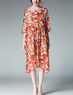 Largo Chiffon Vestito Da donna-Per uscire Vacanze Taglie forti Vintage Semplice Romantico Con stampe Rotonda Medio Maniche a ¾ Arancione