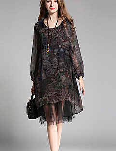 Women's Plus Size Going out Beach Sexy Vintage Cute Loose Chiffon Dress,Print Mesh Round Neck Knee-length Long Sleeve PolyesterBlack