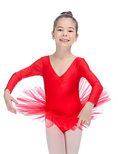 Balé Tutos e Saias Mulheres Crianças Actuação Nailon Tule Licra Recortes 1 Peça Manga Comprida Vestidos