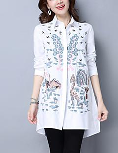 Camicia Da donna Casual Moda città Stoffe orientali Primavera Autunno,Ricamato Colletto Cotone Blu Bianco Manica lunga Medio spessore