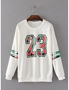 Dames Actief Eenvoudig Casual/Dagelijks Sweatshirt Print Oversized Ronde hals Micro-elastisch Katoen Lange mouw Lente