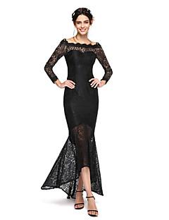 Lanting Bride® Asymetrické Krajka Elegantní Šaty pro družičky - Rozevláté Bateau s Krajka