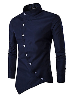 Men's Casual/Daily Simple Spring Summer Shirt,Solid Shirt Collar Long Sleeves Cotton