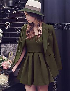 Feminino Terno Vestidos Conjuntos Festa/Coquetel Casual Trabalho Vintage Punk & Gothic Sofisticado Com Molas Outono,Cor Única Pregueado