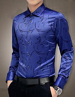 Masculino Camisa Social Para Noite Trabalho Tamanhos Grandes Simples Moda de Rua Primavera Outono,Geométrica Estampado Azul Vermelho