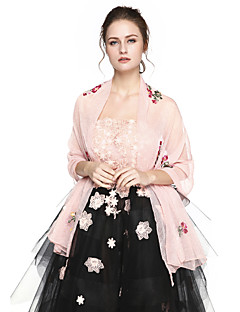 Women's Wrap Shawls Tulle Wedding Party/Evening Office & Career Embroidery