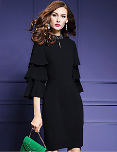 Women's Going out Party/Cocktail Sexy Street chic Bodycon Dress,Solid Beaded Round Neck Above Knee ¾ Sleeve Flare Sleeve PolyesterBlack