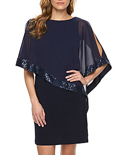 Women's Going out Club Sexy Simple Chiffion Sheath DressPatchwork Sequins Round Neck Mini  Length Sleeve