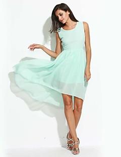 Dámské Jednoduché Běžné/Denní Swing Šaty Jednobarevné,Bez rukávů Kulatý Asymetrické Modrá Růžová Černá Polyester Léto Mid RiseLehce