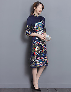 unterzeichnen 2017 Retro Druck Kleid Kragen chinesische Art verbessertes cheongsam Kleid ms zu erhöhen. langen Abschnitt