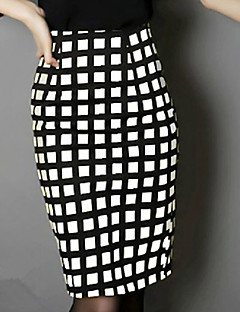 Women's OL Style Bodycon Plaid Large Size Pencil SkirtsCasual/Daily Club Street chic High Rise Above Knee Zipper All Match Micro-elastic All Seasons
