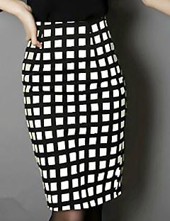 Damen Röcke,Bodycon SchottenmusterLässig/Alltäglich Klub Street Schick Hohe Hüfthöhe Über dem Knie Reisverschluss Polyester