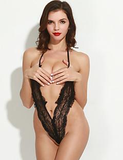 Ženy Ultra sexy Košilka na ramínka Noční prádlo Jednobarevné Krajka Černá