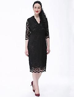 Damen Spitze Kleid-Übergröße Retro Solide V-Ausschnitt Knielang ½ Länge Ärmel Beige Schwarz Polyester Frühling Sommer Mittlere Hüfthöhe