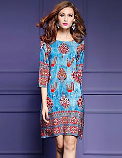 女性 ストリートファッション お出かけ プラスサイズ ルーズ ドレス,プリント ラウンドネック 膝上 七部袖 ブルー ポリエステル 春 夏 ミッドライズ マイクロエラスティック ミディアム