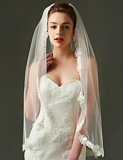Wedding Veil One-tier Fingertip Veils Lace Applique Edge Organza
