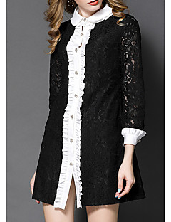 Women's Going out Casual/Daily Formal Simple Street chic Sophisticated A Line Lace Dress,Patchwork Lace Cut Out Mesh Peter Pan Collar