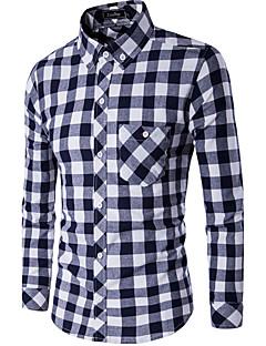 Heren Eenvoudig Overhemd,Casual/Dagelijks Pied-de-poule Overhemdkraag Lange mouw Blauw Rood Wit Zwart Katoen