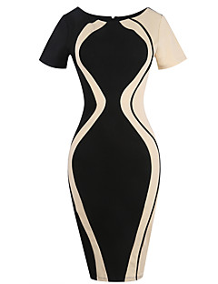 Feminino Tubinho Vestido,Para Noite Casual Tamanhos Grandes Simples Moda de Rua Estampa Colorida Houndstooth Decote RedondoAltura dos