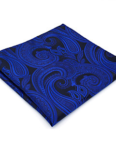 Men's Pocket Square Blue Paisley 100% Silk Business Dress Casual Jacquard Woven For Men