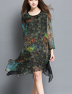 Women's Plus Size Going out Beach Vintage Chinoiserie Loose Dress,Animal Print Layered Round Neck Above Knee Long Sleeve PolyesterGray