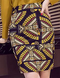 נשים מידות גדולות צינור דפוס שסע חצאיות,סקסית בוהו עבודה,מעל הברך גיזרה גבוהה רוכסן זהורית Polyesteri ספנדקס מתיחה קפיץ סתיו