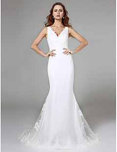 2017 Lanting Bride® Trumpet / Mermaid Wedding Dress Simply Sublime Sweep / Brush Train V-neck Lace with Lace
