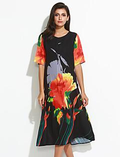 Dámské Čínské vzory Velké velikosti / Jdeme ven Volné Šaty Květinový,Poloviční délka rukávu Kulatý Maxi Černá Polyester Léto Mid Rise