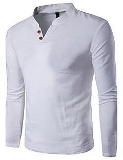 メンズ カジュアル/普段着 ワーク プラスサイズ 夏 Tシャツ,シンプル 活発的 Vネック ソリッド コットン リネン レーヨン 長袖 薄手