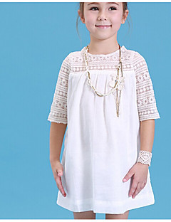 Girl's Solid Dress,Cotton Summer Half Sleeve