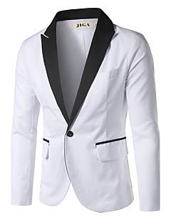 Men's Solid Casual / Work / Formal Style Slim Blazer,Cotton / Cotton Blend Long Sleeve White All Seasons Men's Fashion Wear